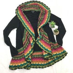 Anthropologie Rainbow Crochet Cardigan Small